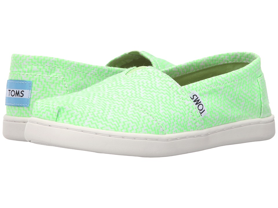 TOMS Kids - Seasonal Classics (Little Kid/Big Kid) (Neon Green Printed Textile) Kids Shoes