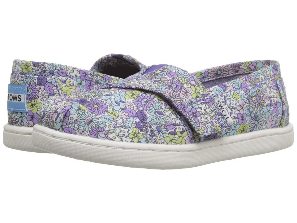 TOMS Kids - Seasonal Classics (Infant/Toddler/Little Kid) (Purple Canvas Ditsy Floral) Kids Shoes