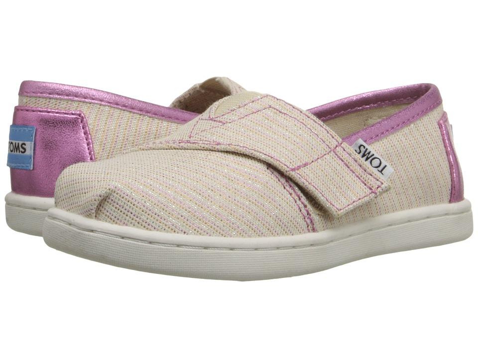 TOMS Kids - Seasonal Classics (Infant/Toddler/Little Kid) (Pink Stripe Glimmer) Kids Shoes