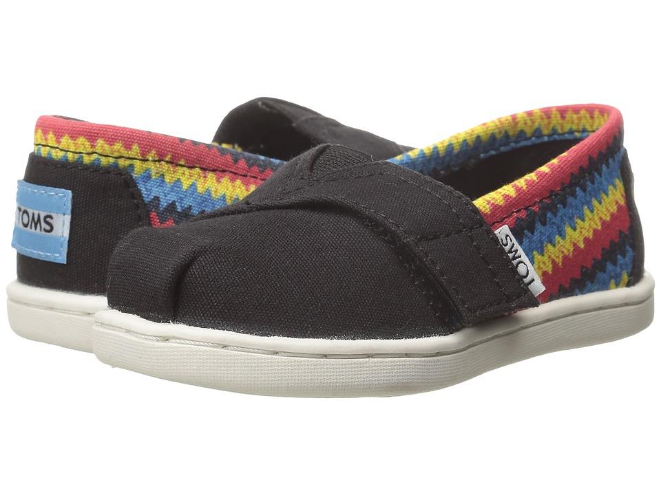 TOMS Kids - Seasonal Classics (Infant/Toddler/Little Kid) (Black Raffia Print) Kids Shoes