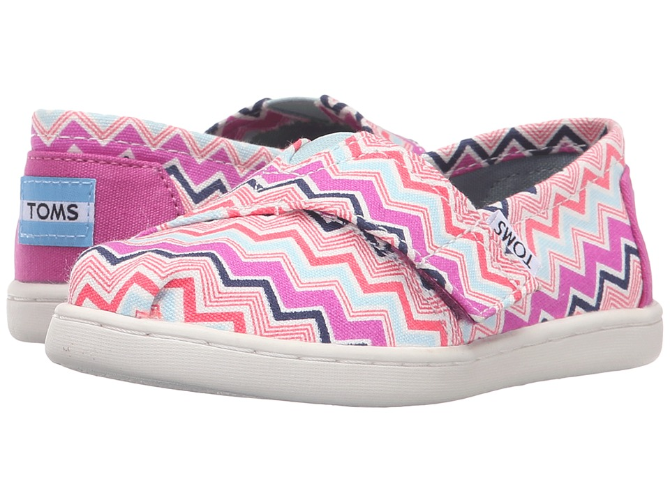 TOMS Kids - Seasonal Classics (Infant/Toddler/Little Kid) (Pink Multi Canvas Chevron) Kids Shoes