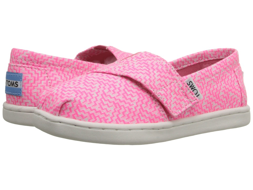 TOMS Kids - Seasonal Classics (Infant/Toddler/Little Kid) (Neon Pink Printed Textile) Kids Shoes