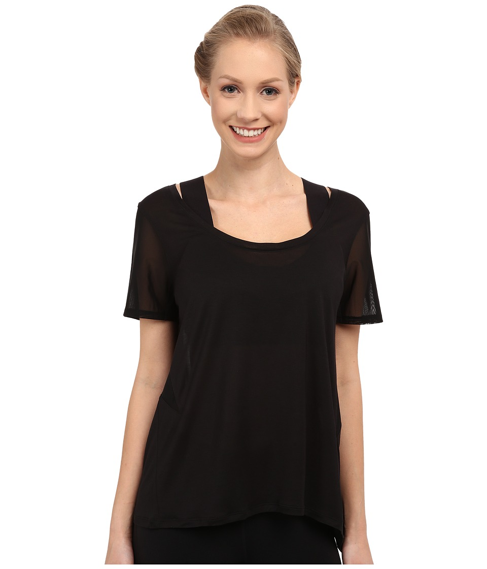 ALO - Luxx Short Sleeve Top (Black) Women's Short Sleeve Pullover