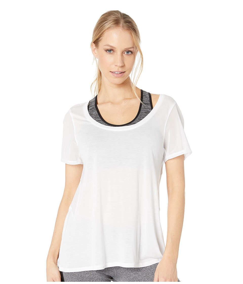 ALO - Luxx Short Sleeve Top (White) Women's Short Sleeve Pullover