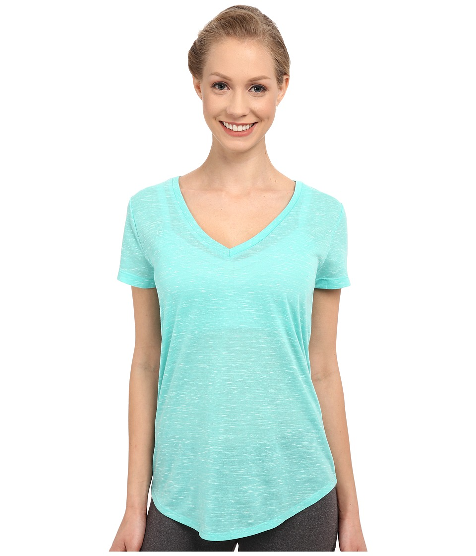 ALO - Deep V-Neck Shirt (Island Green Marble) Women's Short Sleeve Pullover