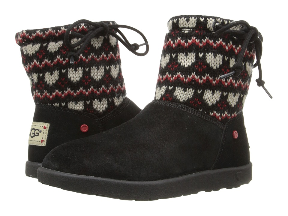 UGG Kids - Slouchy Mini Fair Isle (Little Kid/Big Kid) (Black) Girls Shoes