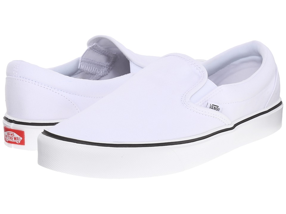 Vans - Slip-On Lite + ((Canvas) True White) Men's Skate Shoes