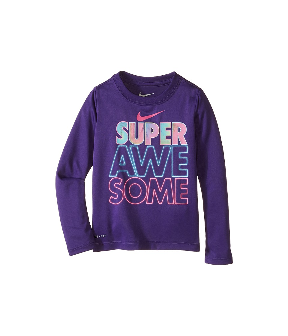 Nike Kids - Super Awesome Long Sleeve Tee (Toddler) (Court Purple) Girl's T Shirt