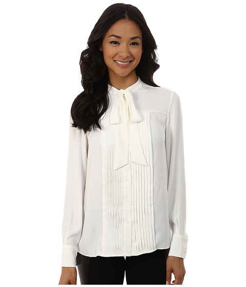 Anne Klein - Long Sleeve Bow Blouse (White) Women's Blouse