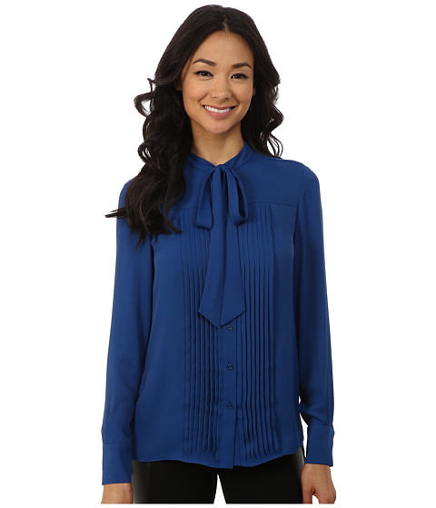 Anne Klein - Long Sleeve Bow Blouse (Raven Blue) Women