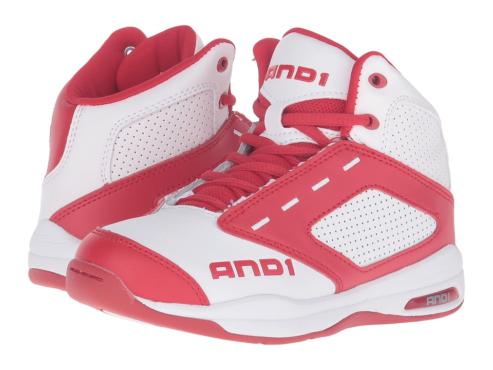 AND1 Kids - Typhoon (Little Kid/Big Kid) (Bright White/Formula 1 Red/Bright White) Boys Shoes