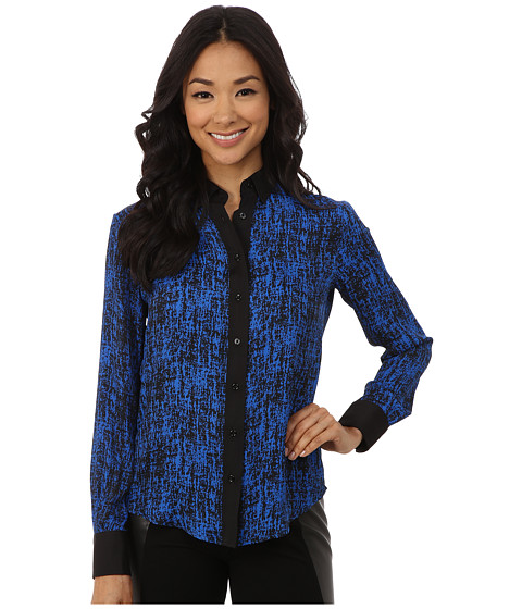 Anne Klein - Long Sleeve Shirt (Black/Azure) Women's Clothing