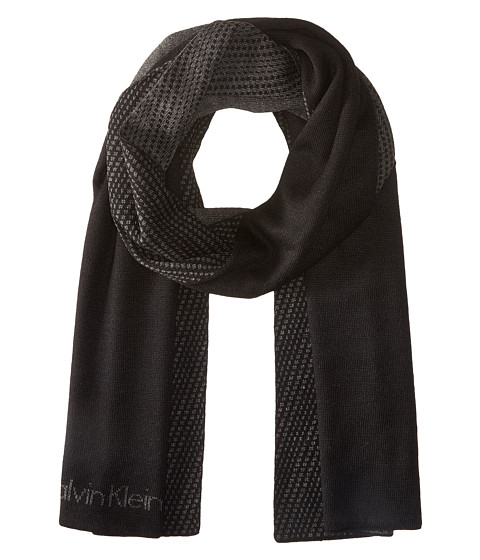 Calvin Klein - Blocked Grid Logo Muffler (Black/Charcoal Grey) Scarves