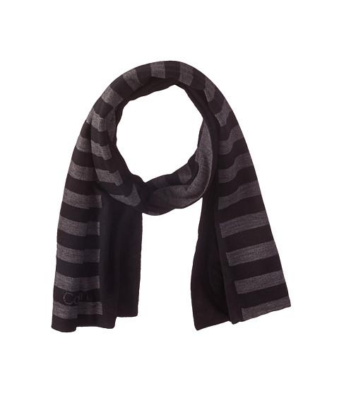 Calvin Klein - Logo Stripe Muffler (Black/Charcoal Grey) Scarves