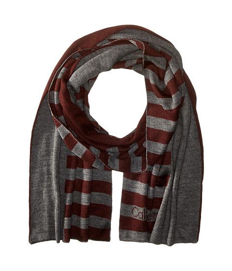 Calvin Klein - Logo Stripe Muffler (Charcoal Grey/Claret) Scarves