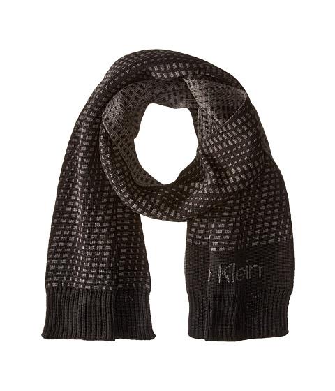 Calvin Klein - Diagonal Dashes Logo Muffler (Black/Charcoal Grey) Scarves