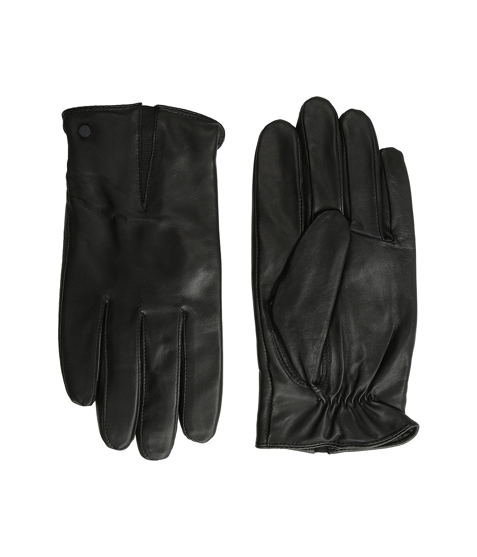 Calvin Klein - Deep V Leather Glove (Black) Extreme Cold Weather Gloves