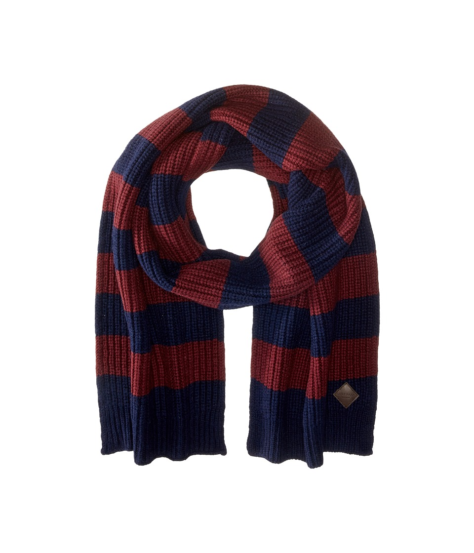 Cole Haan - Striped Cardigan Stitch Muffler (Blazer Blue/Port Royal) Scarves