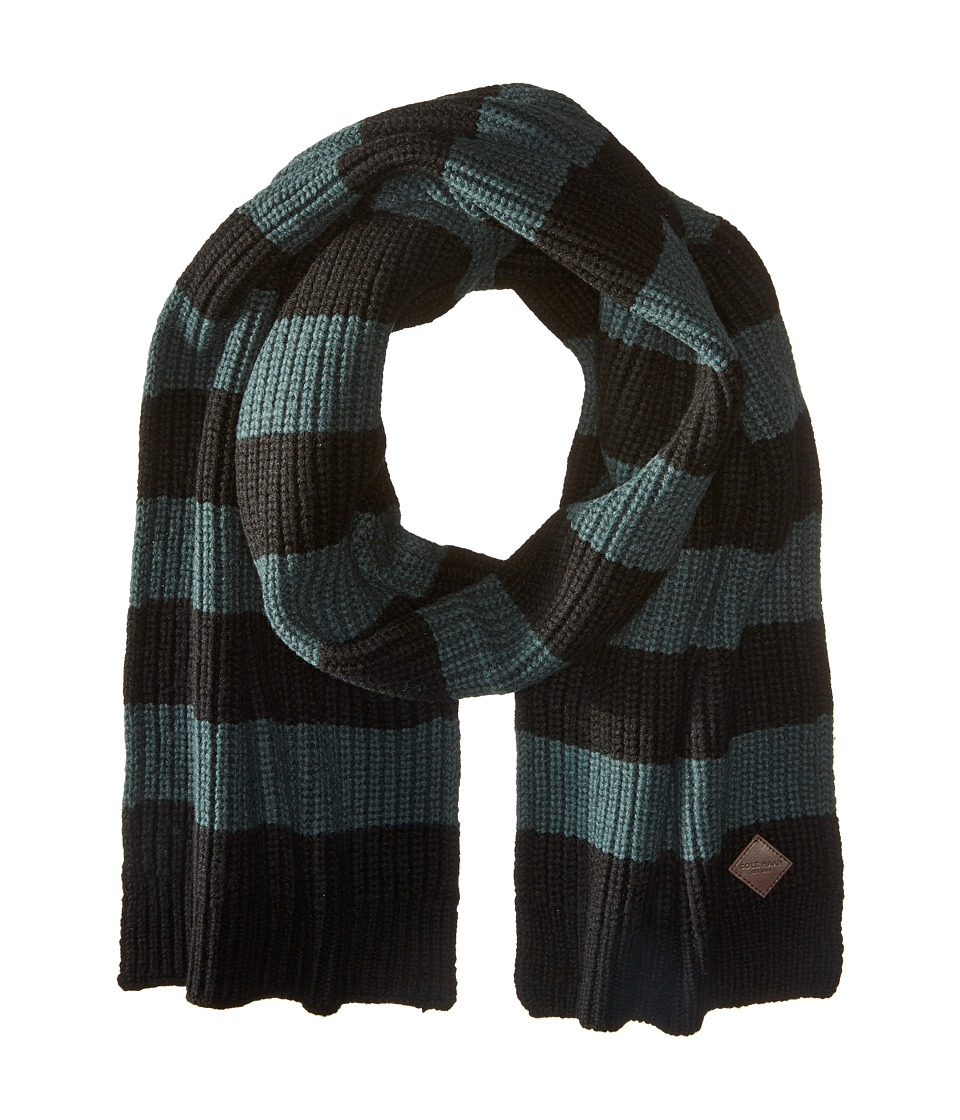 Cole Haan - Striped Cardigan Stitch Muffler (Black Spruce) Scarves