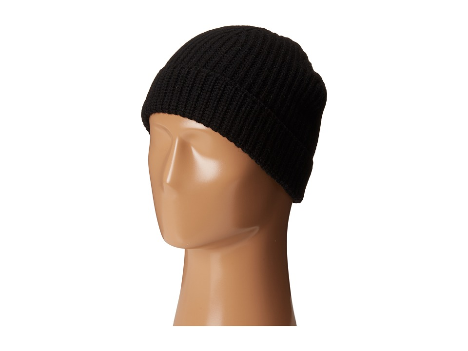 Cole Haan - Striped Cardigan Stitch Watch Cap (Black) Caps