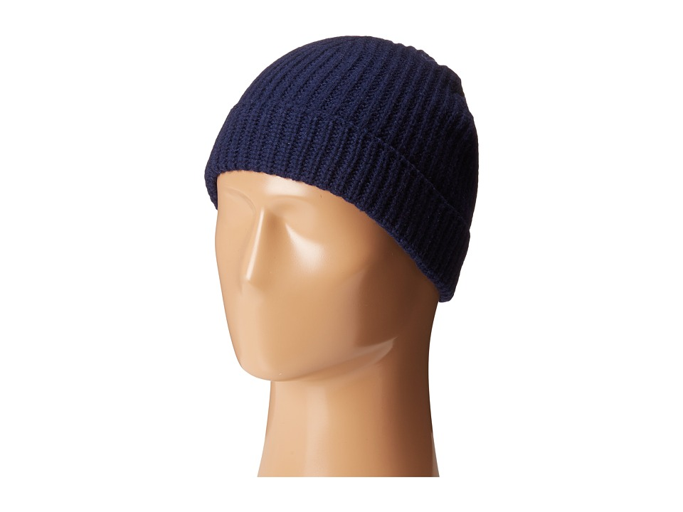 Cole Haan - Striped Cardigan Stitch Watch Cap (Blazer Blue) Caps