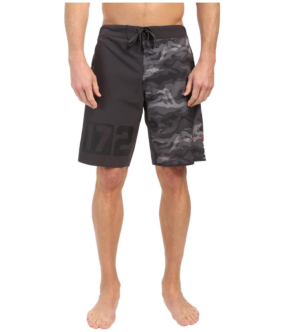 Reebok - One Series Nasty Camo Boardshorts (Coal) Men's Swimwear