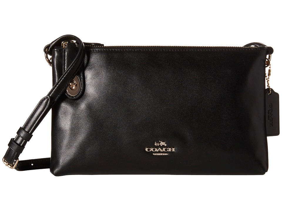 COACH - Smooth Leather Crosby Crossbody (LI/Black) Cross Body Handbags