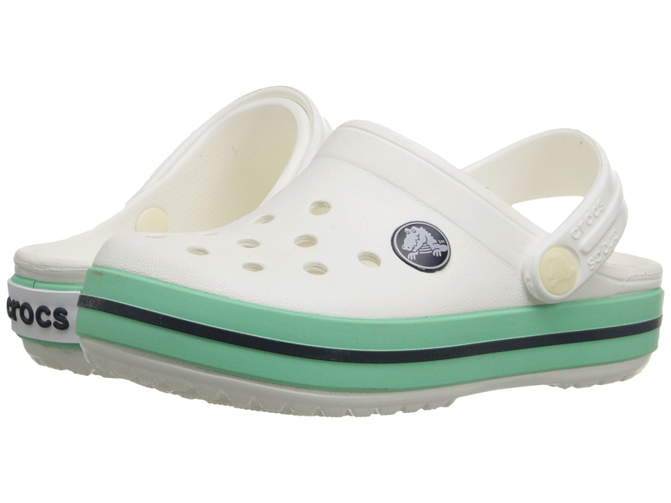 Crocs Kids - Crocband Clog (Toddler/Little Kid) (White/New Mint) Kids Shoes