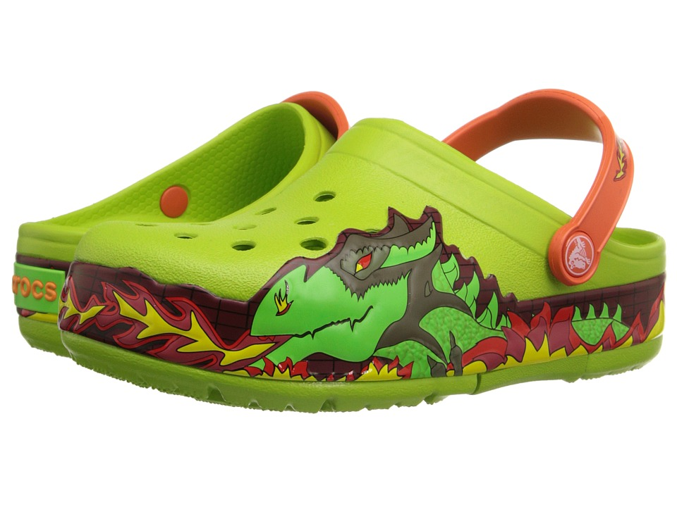 Crocs Kids - CrocsLights Fire Dragon Clog (Toddler/Little Kid) (Volt Green) Boys Shoes