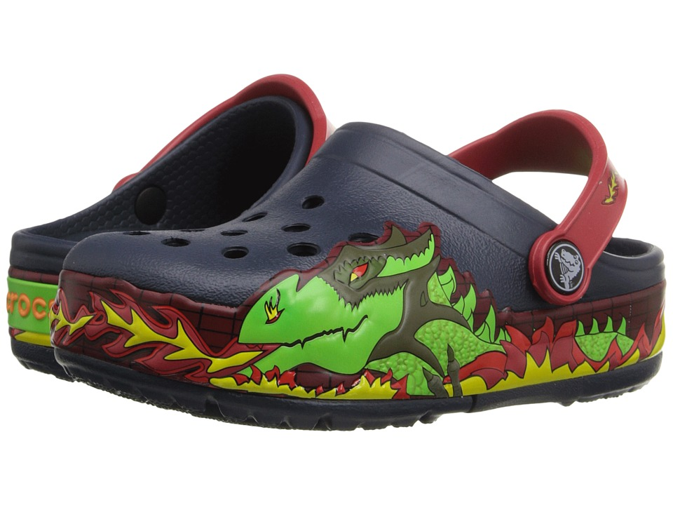 Crocs Kids - CrocsLights Fire Dragon Clog (Toddler/Little Kid) (Navy) Boys Shoes