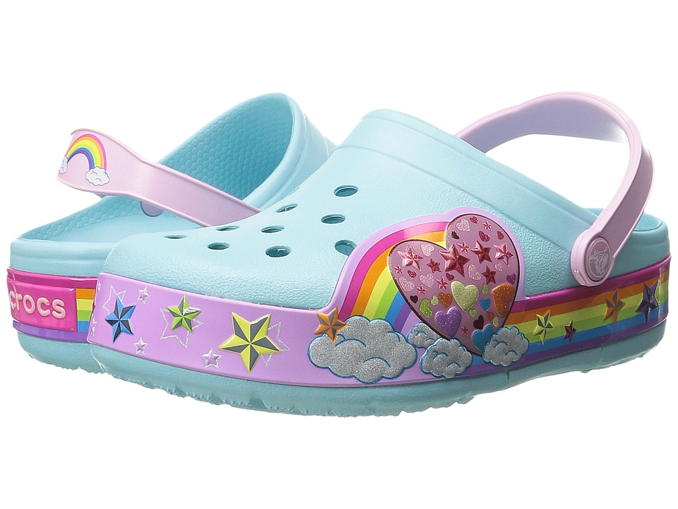 Crocs Kids - CrocsLights Rainbow Heart Clog (Toddler/Little Kid) (Ice Blue) Girls Shoes