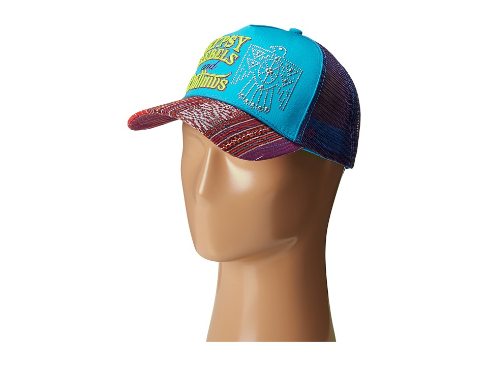 Gypsy SOULE - Gypsy Rebels and Outlaws Trucker Hat (Turquoise/Purple) Caps