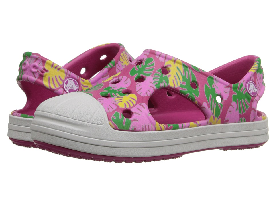 Crocs Kids - Bump It Tropical Sandal (Toddler/Little Kid) (Candy Pink/Oyster) Girls Shoes