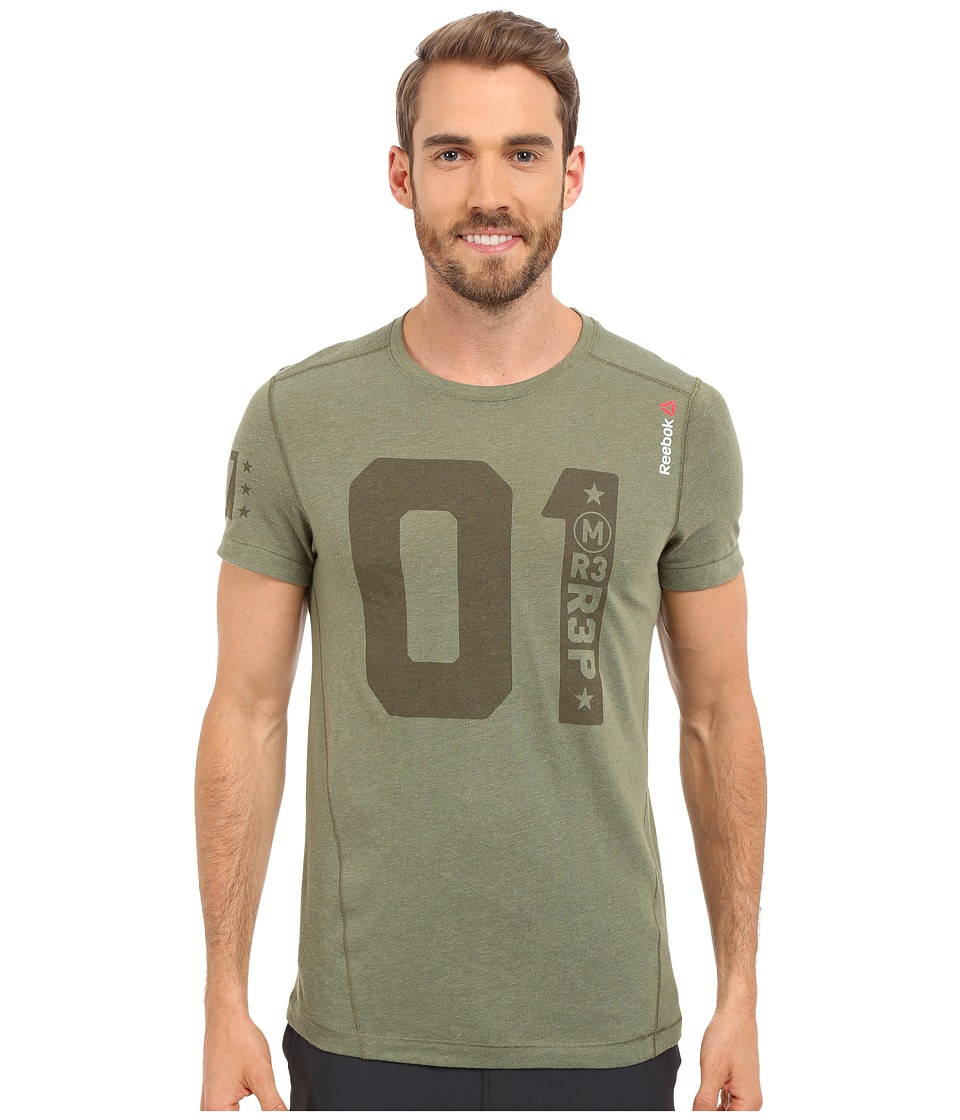 Reebok - One Series One More Rep Tri-Blend Short Sleeve Top (Canopy Green) Men's Workout