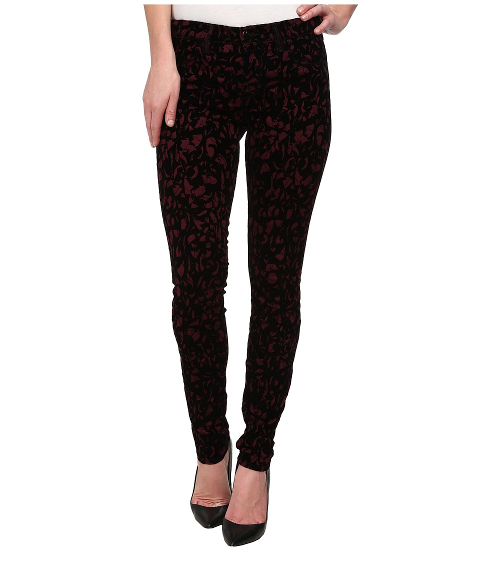 J Brand - Mid-Rise Super Skinny in Mulberry Brocade (Mulberry Brocade) Women's Jeans
