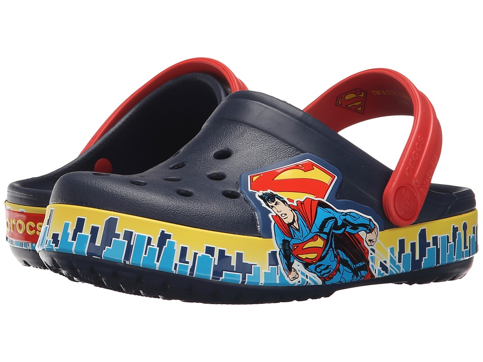Crocs Kids - Crocband Superman Clog (Toddler/Little Kid) (Navy/True Red) Boys Shoes