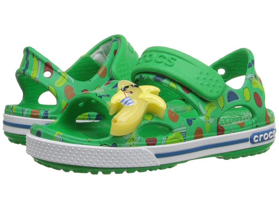 Crocs Kids - Crocband II Banana LED Sandal (Toddler/Little Kid) (Grass Green) Boys Shoes