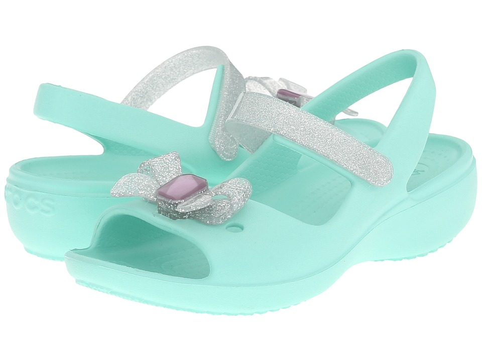 Crocs Kids - Keeley Springtime Mini Wedge PS (Toddler/Little Kid) (New Mint) Girls Shoes