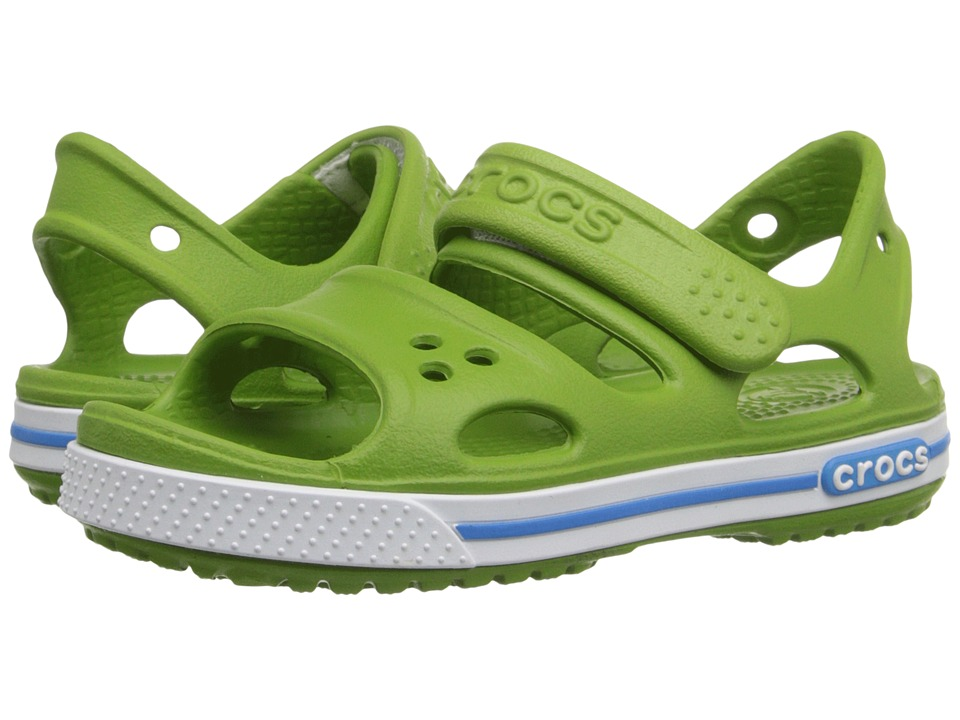 Crocs Kids - Crocband II Sandal (Toddler/Little Kid) (Parrot Green/Ocean) Kids Shoes