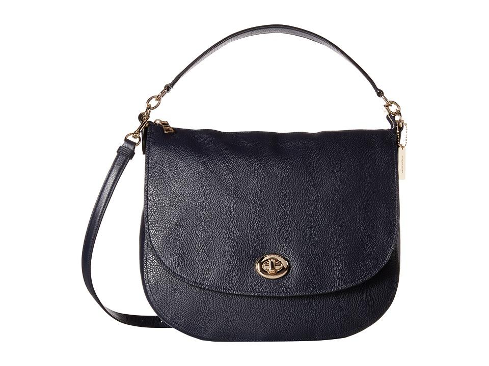 COACH - Pebbled Turnlock Hobo (LI/Navy) Hobo Handbags