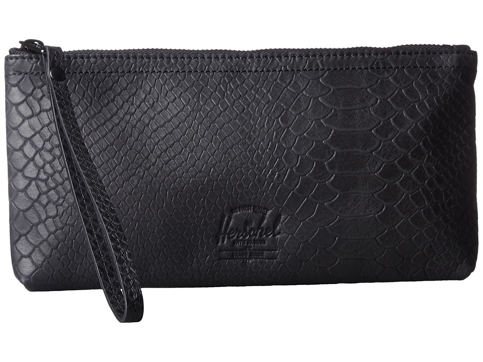 Herschel Supply Co. - Casey (Black Snake Leather) Clutch Handbags