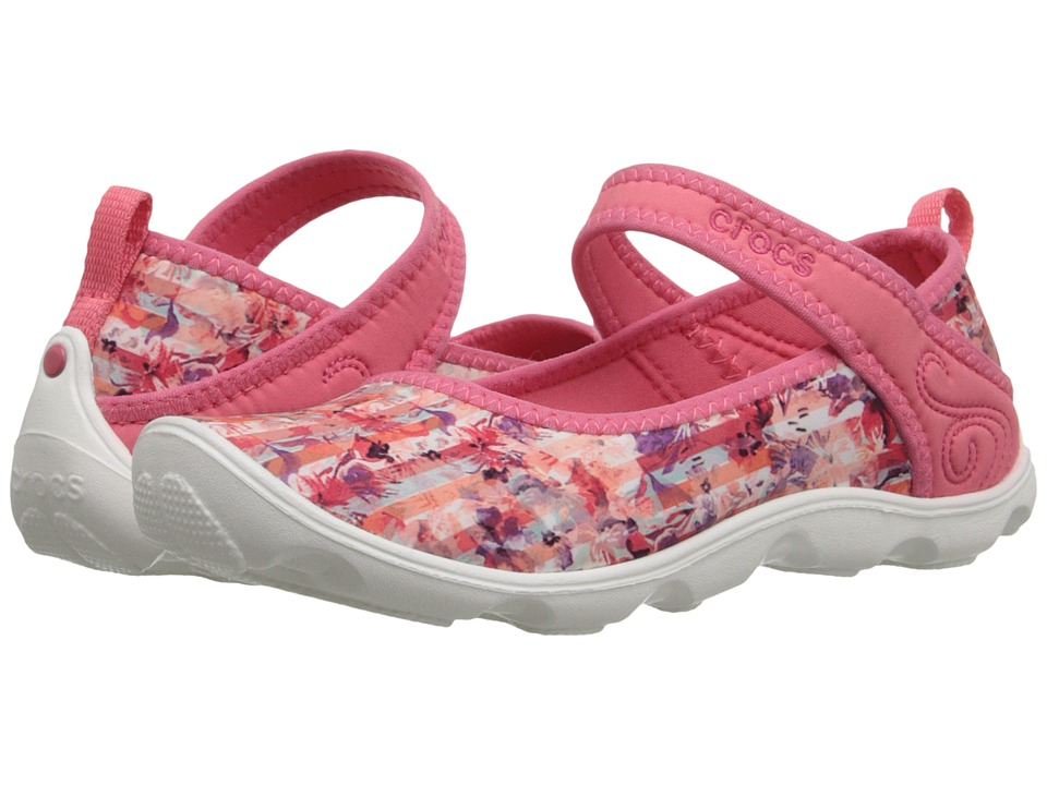 Crocs Kids - Duet Busy Day Floral GS (Little Kid/Big Kid) (Coral/White) Girl's Shoes