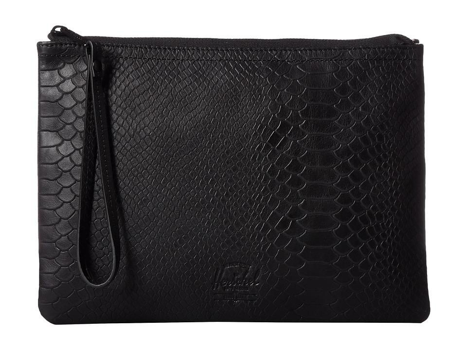 Herschel Supply Co. - Casey XL (Black Snake Leather) Clutch Handbags