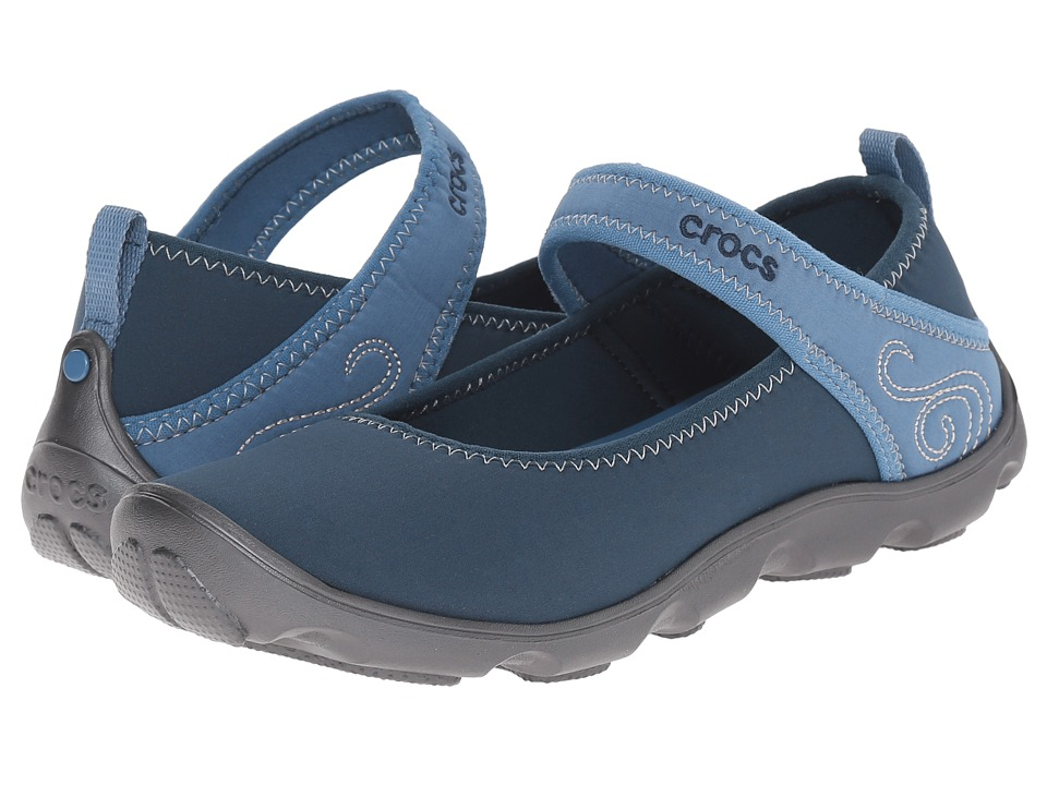 Crocs Kids - Duet Busy Day Mary Jane (Little Kid/Big Kid) (Navy/Graphite) Girls Shoes