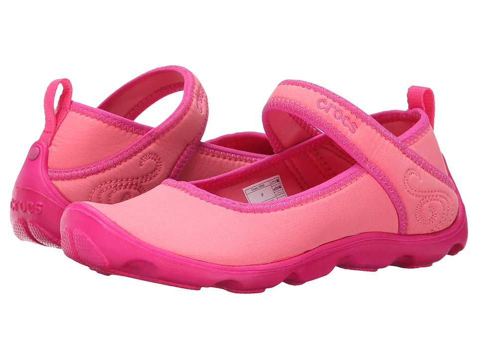 Crocs Kids - Duet Busy Day Mary Jane (Little Kid/Big Kid) (Coral/Ballerina Pink) Girls Shoes