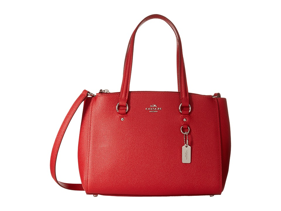 COACH - Crossgrain Mini Double Zip Carryall (SV/True Red) Handbags