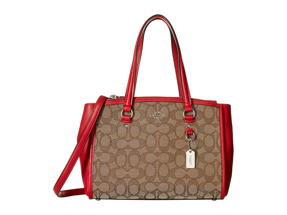 COACH - Signature Stanton 26 Carryall (SV/Khaki/True Red) Satchel Handbags