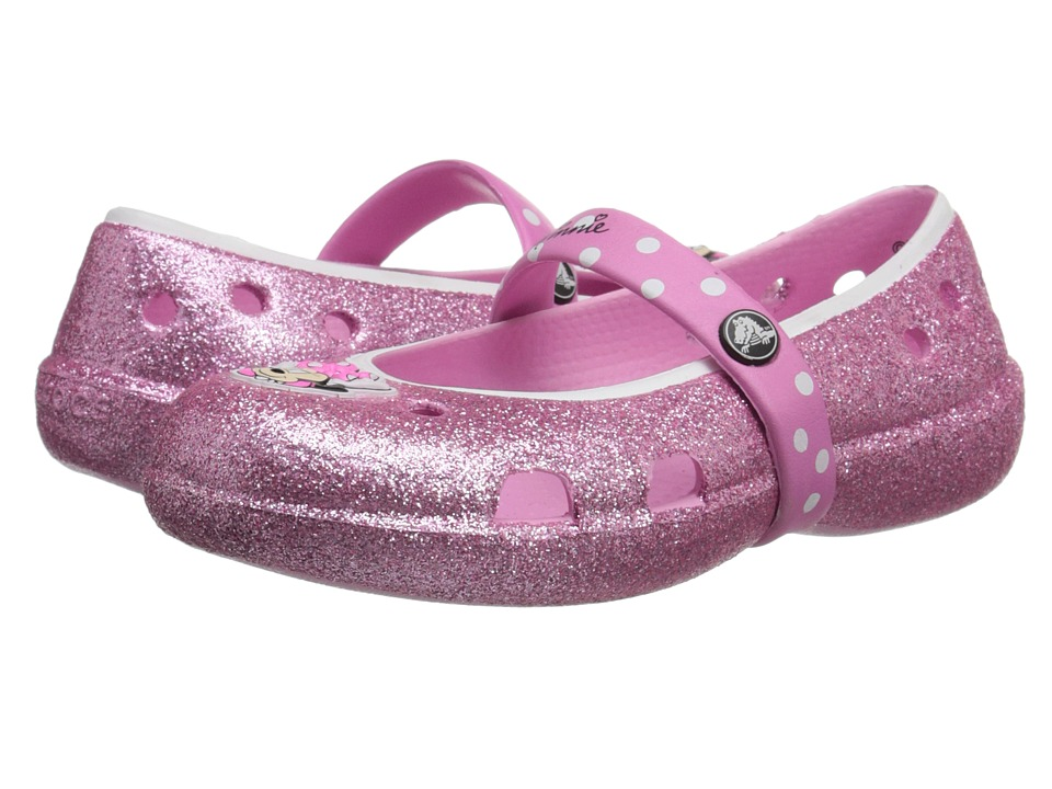 Crocs Kids - Kelley Minnie Glitter Flat PS (Toddler/Little Kid) (Carnation) Girls Shoes