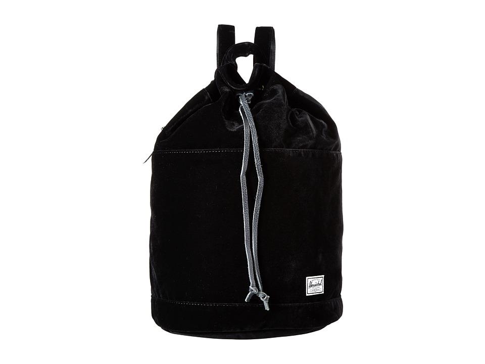 Herschel Supply Co. - Hanson (Black Velvet/Black Leather) Backpack Bags