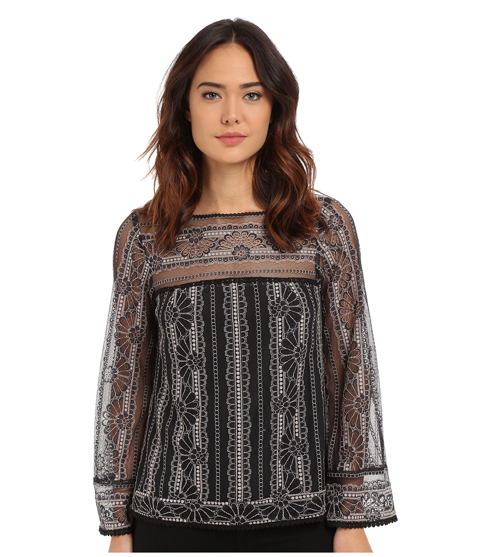 Nanette Lepore - Misty Morning Top (Black/Ivory) Women's Clothing